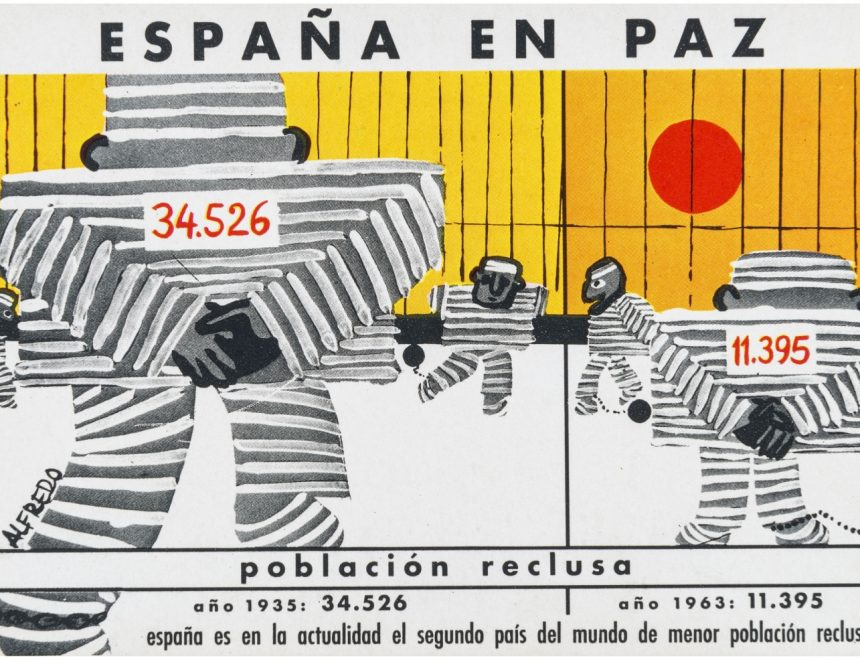 Población reclusa en España. Tarjeta postal conmemorativa de los XXV Años de Paz, 1964