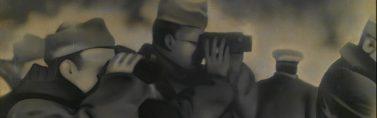 El General Aranda con sus hombres durante las maniobras de Alfambra en febrero del 38