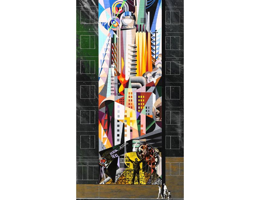 Josep Renau / El dominio de la naturaleza por el hombre. Boceto para proyecto mural para la ciudad de Halle-Neustdat, 1971. IVAM, Institut Valencià d'Art Modern, Generalitat. Depósito Fundación Renau, Valencia
