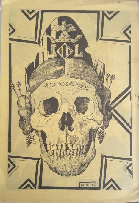 © Burguitos / Cráneo de fallera radioactiva. Contraportada del fanzine El Gat Pelat, núm. 4, 1978 Biblioteca. IVAM, Institut Valencià d'Art Modern, Generalitat.