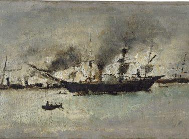 Ignacio Pinazo / Barco de vapor, s.f.