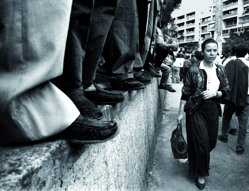Nadia Benchallal / Demonstration for the dissappearance of the singer Matoub Loune, Tizi Ozou, Algeria, 1994