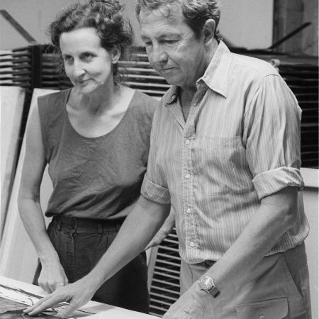 Trisha Brown and Rauschenberg working on costumes for Brown's Set and Reset (1983), Larry B. Wright Art Productions, New York, 1983. Photograph Collection. Robert Rauschenberg Foundation Archives, New York. Photo: Terry Van Brunt, 1983