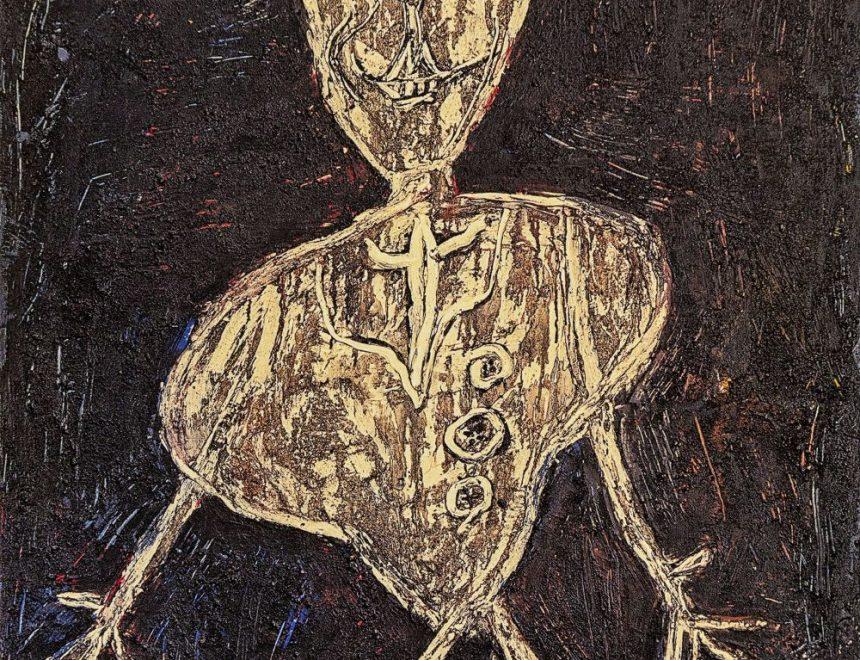 Jean Dubuffet / Henri Michaux acteur japonais, 1946. Óleo sobre lienzo 130 x 97cm Collection Financière Saint James, París / Cortesía Applicat-Prazan © Jean Dubuffet, VEGAP, Valencia, 2019